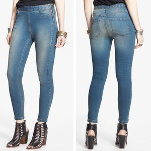 Free People High Rise Side Zip Skinny Jeans Coyote